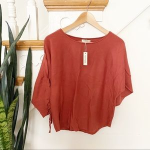 Max Studio ruched sleeves brick color blouse XSP